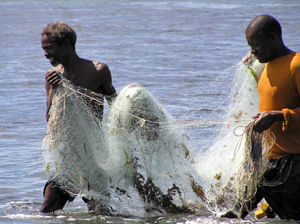 fishermen with net
