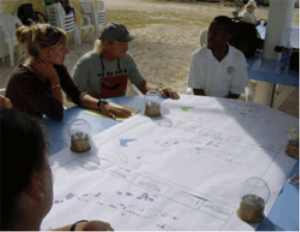 Dive Operators and Director Joseph Smith Abbott discuss MPA scenarios on Anegada. Photo © National Parks Trust of the Virgin Islands