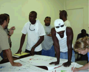 TNC and NPT staff discuss the maps with the Fisheries Association of Virgin Gorda. Photo © National Parks Trust of the Virgin Islands