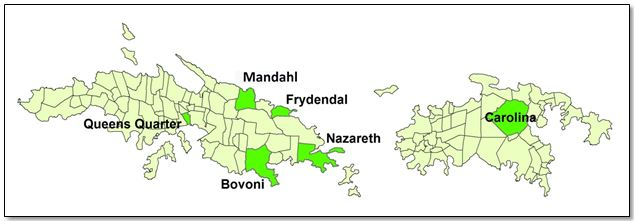 The top ten candidate estates for EBA action in the USVI based on modeled vulnerability and adaptive capacity. The bright green areas represent high impact and low adaptive capacity.