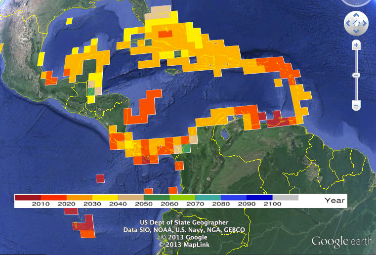 Tool shows future predictions of bleaching and acidification
