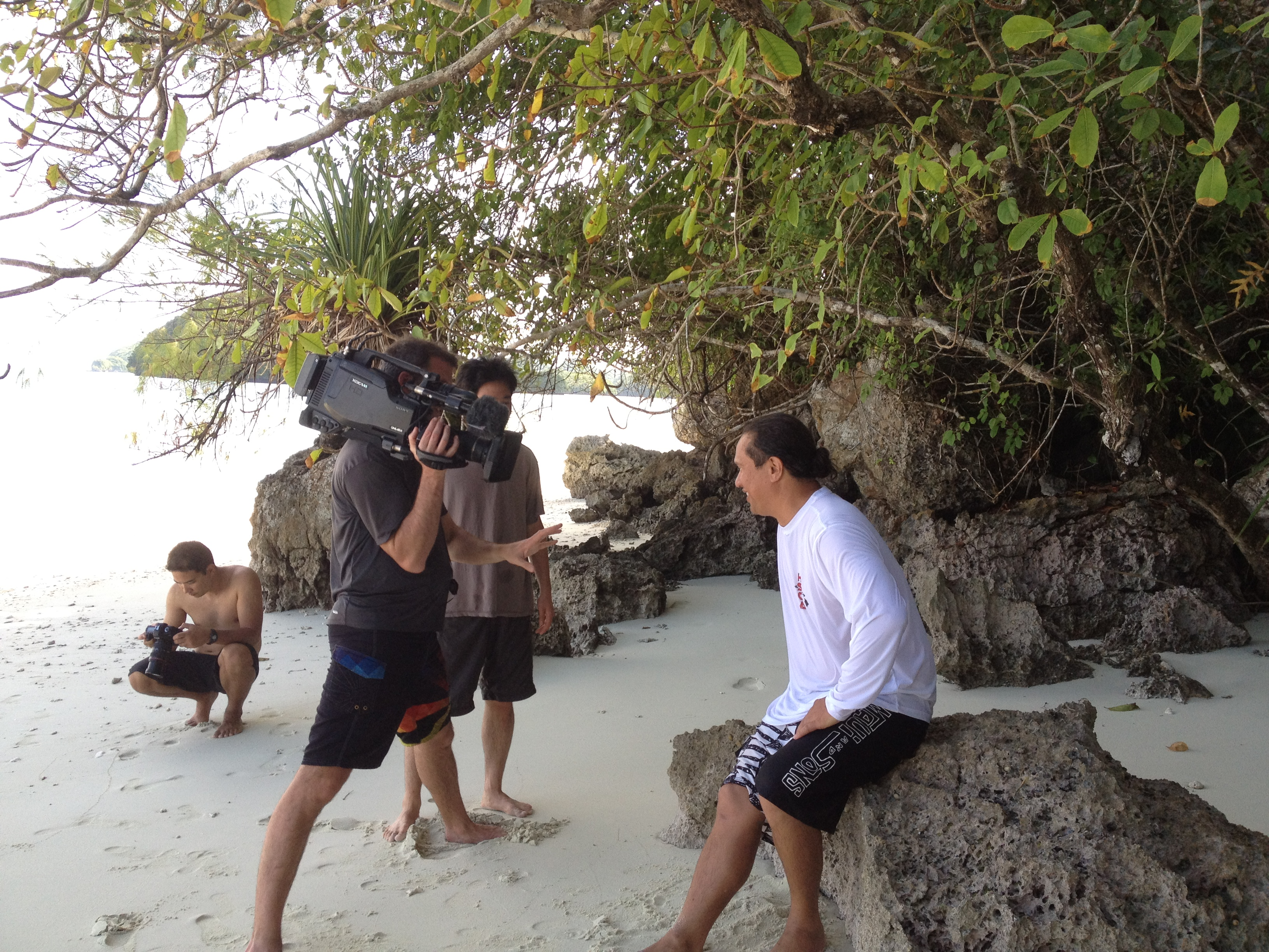 Interview on the beach in Palau, Micronesia. Photo © TNC