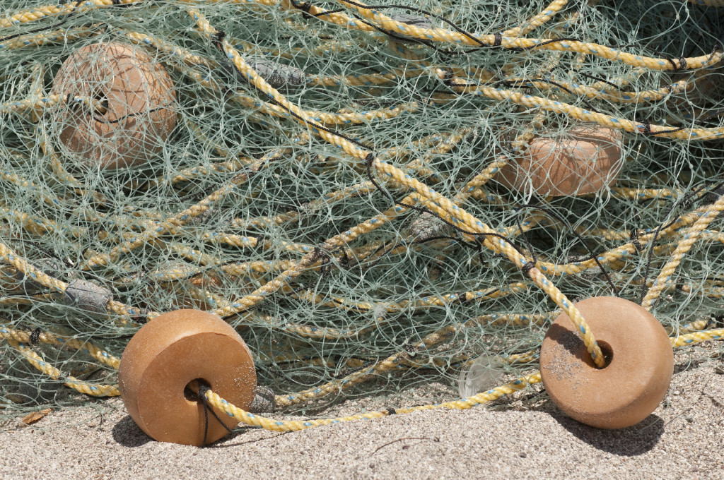 Fishing net with floats lays on the beach at a small indigenous fishing camp on the shore of Isla Espiritu Santo in Mexico's Sea of Cortez. Photo credit: Mark Godfrey