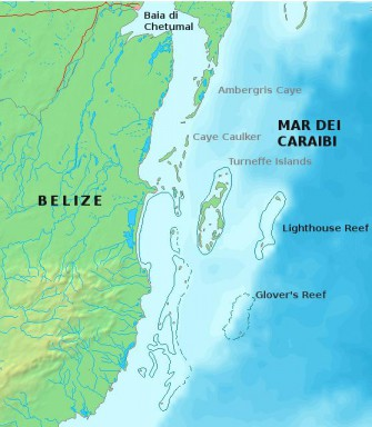 Lokasyon ng Belize Barrier Reef System