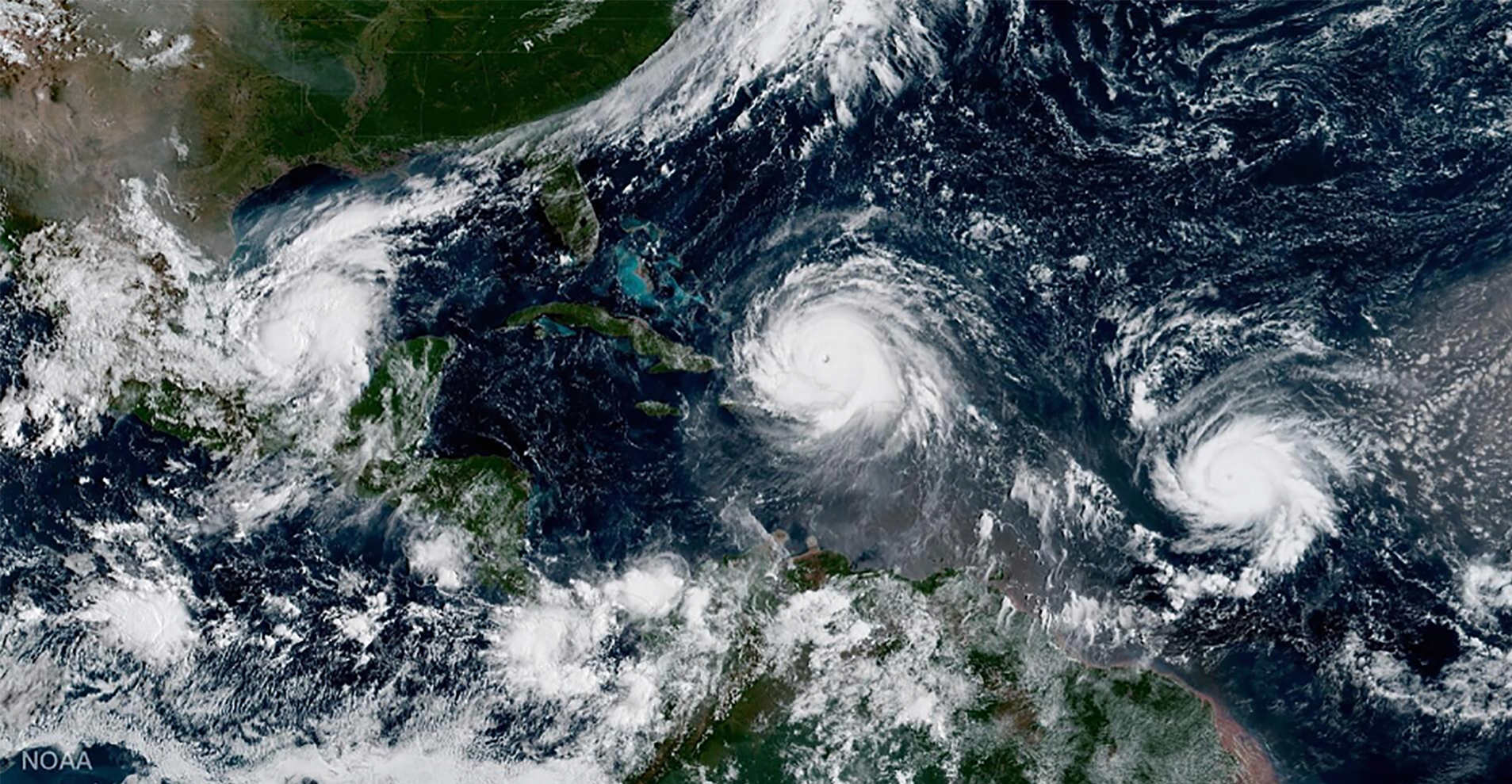 Multiple tropical storms Caribbean