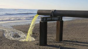 discharge pipe from Hokitika sewer ponds overflowing to the beach Joanne Carroll