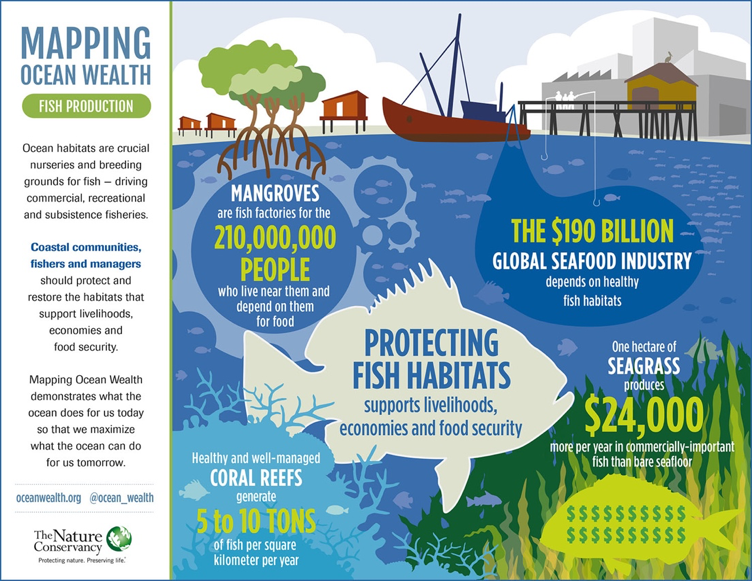 Example of highlighting the benefits of protecting fish habitats from the Mapping Ocean Project.